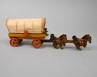 Carved Wood Horse Drawn Covered Wagon Vintage Japan Miniature Knick-Knack