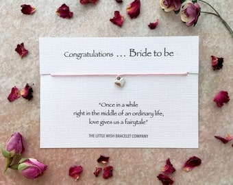 BRIDE TO BE Gift ~ Congratulations Wish Bracelet Card - friendship ~ hen wedding engagement favour ~ Add a Name & Custom Options