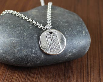 Tardis ~ Dr. Who Inspired ~ Artisan Handcrafted ~Telephone booth ~ Time Travel ~ pendant necklace