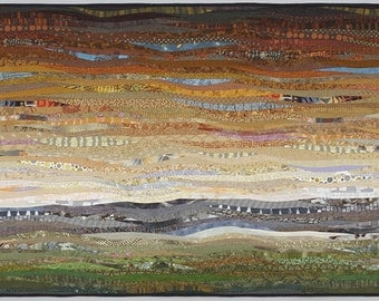Quilted landscape. Modern art quilt. 35x56 in. Contemporary textile art. Modern home decor. Southwestern art. Original wall art. Fiber art.