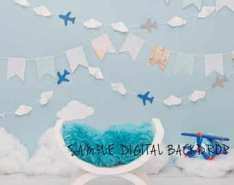 Newborn Digital Backdrop - Airplane Backdrop with curved bench prop