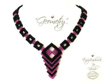 """Beading Kit:""""Geometry"""" Necklace in English Only Beads!  D.I.Y."""