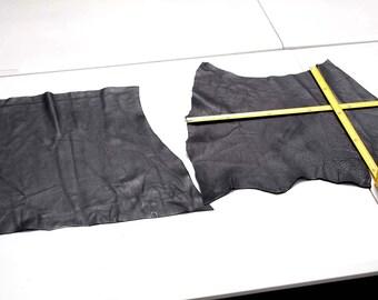 Black Cowhide Elmo Upholstery Leather Pieces 42 x 44 cm & 43 x 36cm
