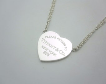 Please Return To Tiffany & Co. Sterling Silver Heart Tag Necklace Double Strand 16""
