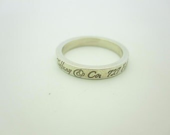 Tiffany & Co. Sterling Silver Narrow Notes Band Ring Size 5 1/2