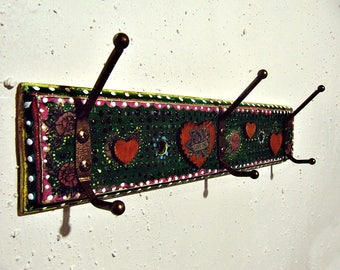 Boho Wall Rack - Mexican Art Inspired Decor - Decorative Vintage Hooks - Clothes Hanger - Bohemian Gypsy Decor - Entryway Wall Storage