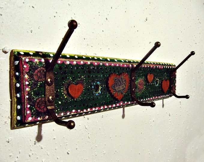 Boho Wall Rack - Mexican Art Decor - Decorative Vintage Hooks - Clothes Hanger - Bohemian Gypsy Decor - Entryway Wall Storage - Hippie Decor