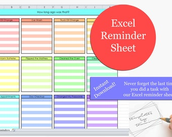 Excel Reminders Sheet | Printable Reminders | When was the last time | How long ago was that | Reminder Organization | Reminder Checklist