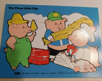 Vintage Wooden Child's Frame Tray Puzzle The Three Little Pigs by Conner #8432-6