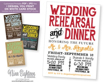 Rehearsal Dinner INVITATION. Custom Printable PDF/JPG. I design, you print. Choose your accent colors.