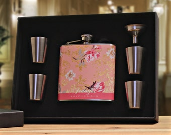 Flasks for Girls, Coral, Pink, Gift Set for Women, Bridesmaids