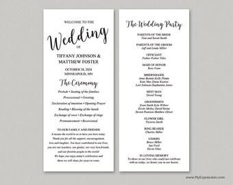 Black Modern Script Slim Wedding Program Template (9051) - INSTANT DOWNLOAD Template - Ready to Print - Editable PDF