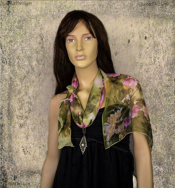 Chiffon Flower Motive Scarf with Pendant Necklace by GunaDesign