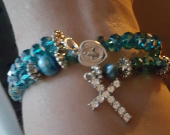 CRYSTAL and pearl coil ROSARY BRACELET