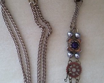 Brass & Purple Steampunk Necklace