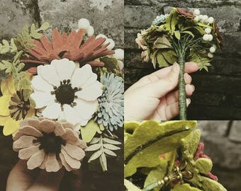 Beautiful mini felt bouquet with bronze coloured details