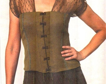 "SALE* Vogue 1140, Sz 10-32/Bust 32-55"". Sandra Betzina Today's Fit pattern, Evening/Corset Tops with Sheer/Lace Shoulders/Cold Shoulder Top"