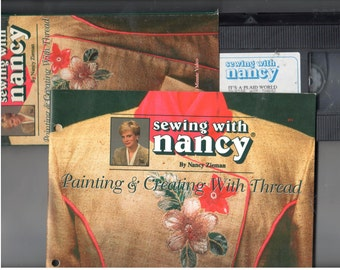 Lot of 2 Sewing with Nancy Painting with Thread Video AND Booklet, Learn Free Motion Stitching to do Embroidery with your sewing machine!
