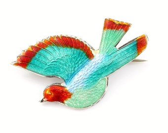 Vintage Enamel Bird Brooch, Sterling Silver Bird Brooch, Vintage Bird Brooch, Bird Pin, Blue and Red Bird, Flying Bird Pin, Vintage Pin