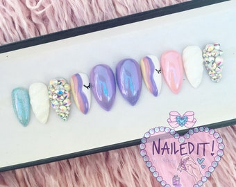 NAILED IT! Hand Painted False Nails - Mermaid Chrome Sculpted Unicorn Horn