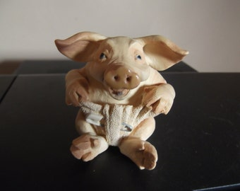 Vintage early 1990s pig - Pig Tails series.  Baby pig in diaper