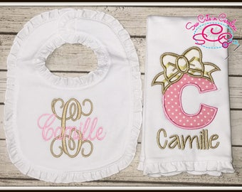 Monogrammed Boutique Ruffle Bib and Burp Cloth Set