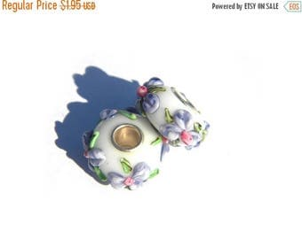 HALF PRICE Lampwork Glass Purple Flowers Large Hole Silver Core Bead For European Charm Bracelets Etc
