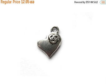 HALF PRICE 6 Silver Heart Charms - 15mm - Valentine Charm