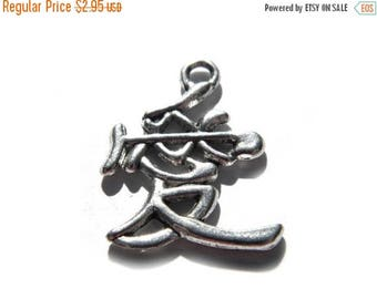 HALF PRICE 6 Silver Chinese Love Symbol Charms  - 25mm