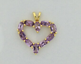 Natural Amethyst Heart Pendant 925 Sterling Silver Gold Plated