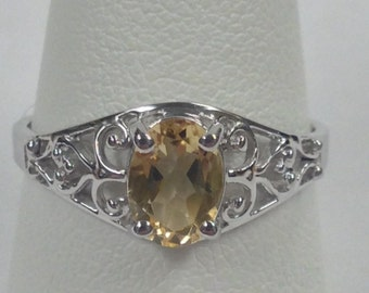 Natural Citrine Ring 925 Sterling Silver