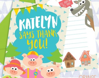 8 X Personalised 3 THREE LITTLE PIGS Wolf Childrens Mini Thank You Card Stationary