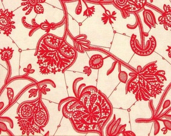 LARK by Amy Butler ~ Fabric Souvenir in Ivory ~ Rowan Fabrics ~ Floral ~ Red ~ Quilting ~ Sewing ~ Home Decor ~ Crafting ~ Romantic  Flowers