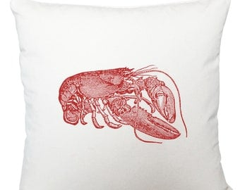 Red lobster cushion cover, scatter cushion, throw cushion, white cushion