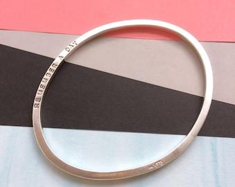 Personalised Silver Bangle- Oval Shaped Bracelet