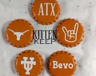 """University of Texas   Texas Longhorns   Austin Texas   1"""" Bottlecap Magnets Set (5)"""