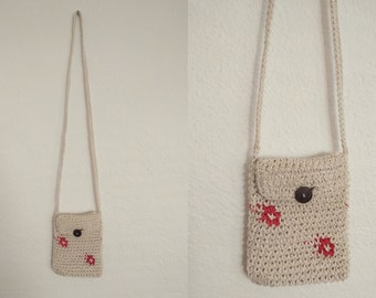 Knit Floral Crossbody Purse. Knit Crossbody Purse. Floral Crossbody Purse. Vintage Crossbody. Vintage Purse.