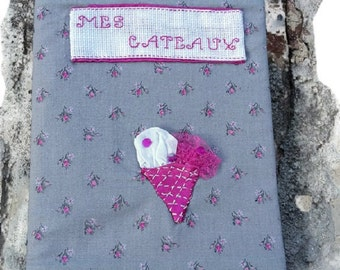 Protects notebook liberty gray fabrics and pink with embroidery bake 18 cm × 23 cm Christmas gift