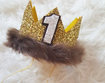 Where the Wild Things Are Birthday Crown | Max Felt Crown | Boys Birthday Crown | Boy Cake Smash | Gold Glitter Crown