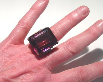 Huge Antique Art Deco Sterling Silver 20 Carat Amethyst Paste Solitaire TANK Ring