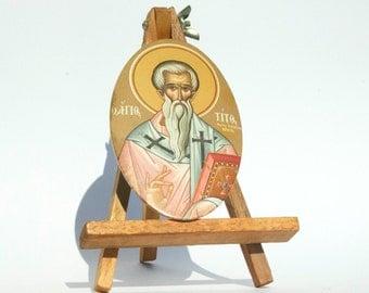 St Titus, Religious Icon Print, Antique Catholic Art, Baptism Gift, Orthodox Icon, Christian Icon, Gift For Godparents, Antique Icon