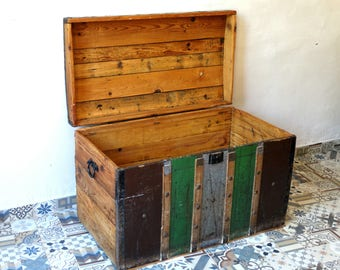 Military Chest, Military Trunk, Steamer Trunk, Pirate Chest, Trunk Chest, Storage Trunk,  Old Wooden Chest, Trunk Coffe Table, Wooden Chest