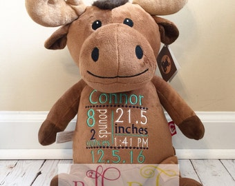 Embroidered Moose with birth stats