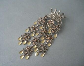 Beautiful large Bridal Wedding older solid silver solje brooch, Norway.