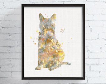 Egyptian Mau Art Print, Watercolor Egyptian Mau, Watercolor Cat Print, Cat Painting, Cat Wall Art, Cat Home Decor, Cat Lover Gift, Framed
