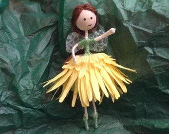 """Handmade Fairy- """"Flower Fairy with brown hair"""""""