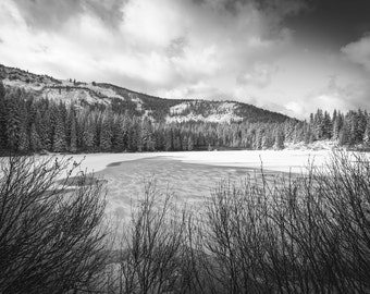 Mirror Lake Photograph, Oregon Cascades Photography, Mt Hood, Black & White Photography, Snowy Mountains Photograph, Pacific Northwest