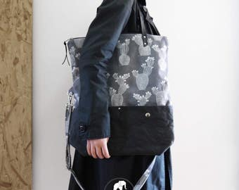 """Ficalinni"" bag Chair shopping bag and messenger, 2 in 1, black and grey canvas and snappap, press ""cactus"""