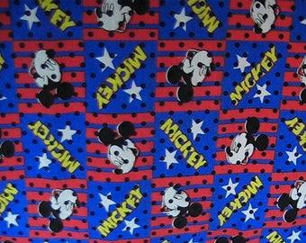 "Mickey Mouse Fabric, 71"" x 58"" Piece of Fabric, Disney Mickey Fabric"