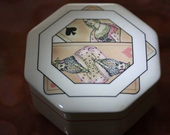 Lovely Rare Villeroy & Boch Vintage Queen of Spades Trinket/Cigarette Box